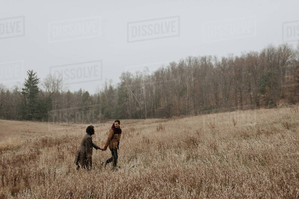A couple holding hands and looking at each other walking through long grasses in a wintry landscape. Royalty-free stock photo