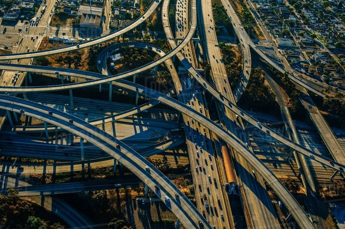Aerial view of curved flyovers and multi lane highways, Los Angeles, California, USA Royalty-free stock photo