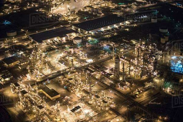 Aerial view of oil refinery illuminated at night, Los Angeles, California, USA Royalty-free stock photo