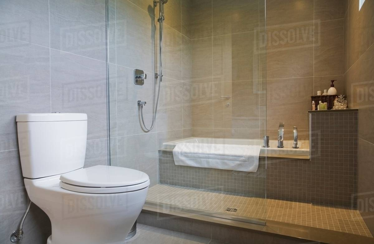 . Modern bathroom with bath tub  toilet and glass shower screen stock photo