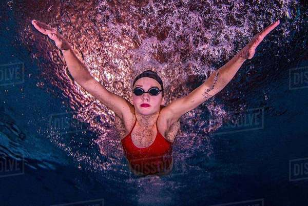 Young woman swimming underwater Royalty-free stock photo