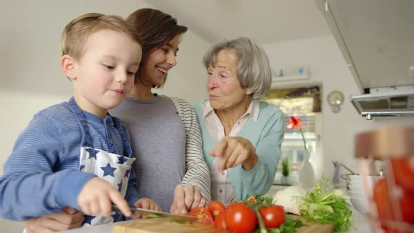 MS SELECTIVE FOCUS Mother and grandmother looking at boy (4-5) cutting tomato / Munich, Bavaria, Germany Royalty-free stock video