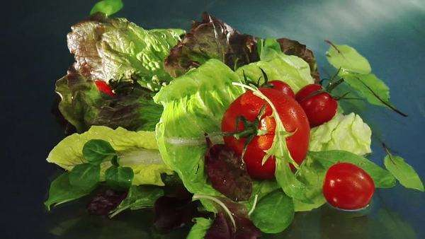 Mixed salad leaves and tomatoes in water Royalty-free stock video