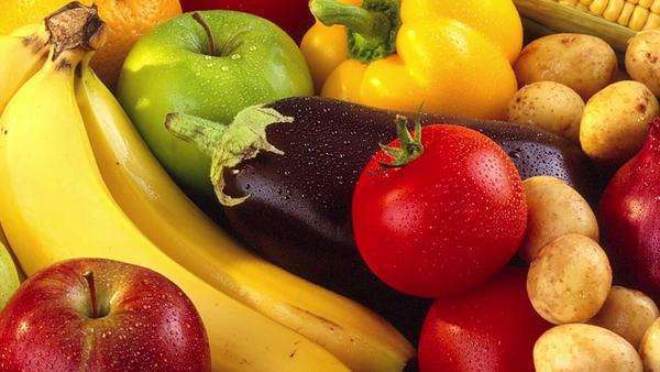 Fresh fruit and vegetables Royalty-free stock video