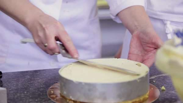 A cake being spread with cream Royalty-free stock video