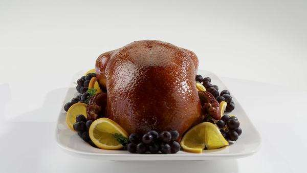 Roast duck with grapes and oranges Royalty-free stock video