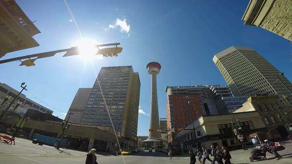 People crossing the road in front of the Calgary Tower. Royalty-free stock video