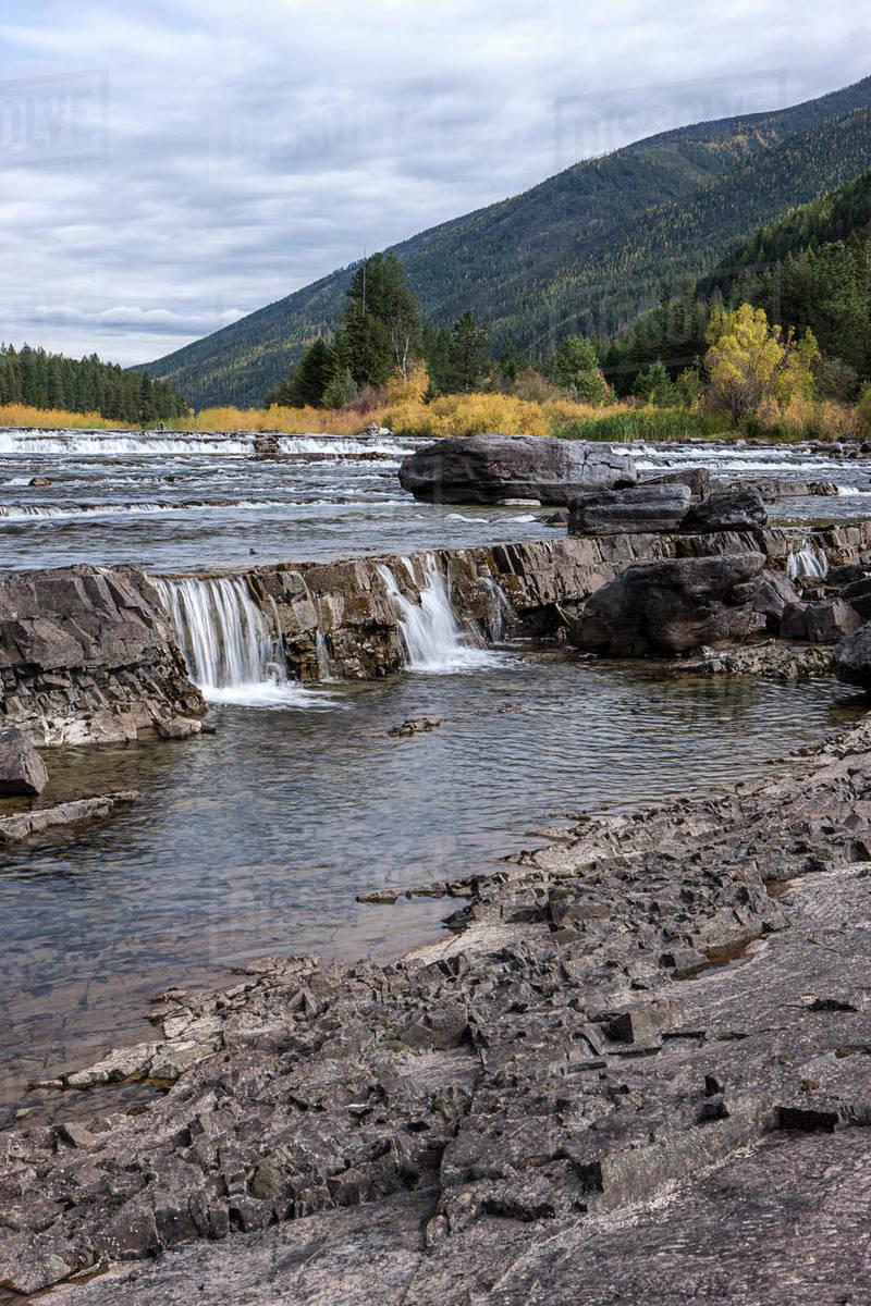 Small cascades on the Kootenai river by the Kootenai Falls near Libby, Montana Royalty-free stock photo