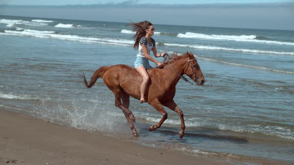 Super slow motion shot of woman riding horses at beach, Oregon Royalty-free stock video