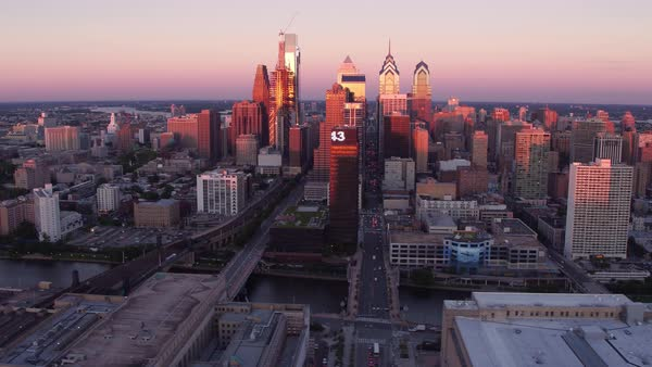 Aerial view of Philadelphia, Pennsylvania at sunset Royalty-free stock video