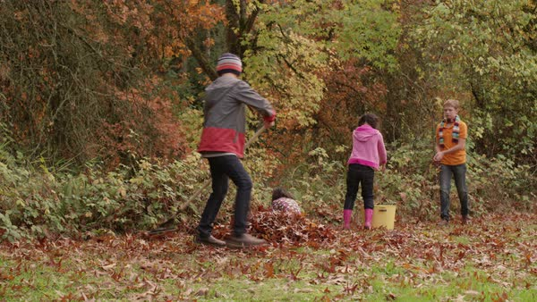 Group of kids in Fall raking leaves Royalty-free stock video