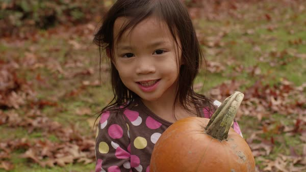 Young girl in Fall holding pumpkin Royalty-free stock video