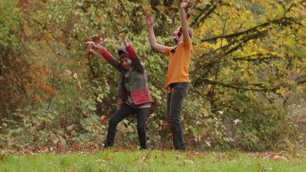 Two boys in Fall throwing leaves in slow motion Royalty-free stock video