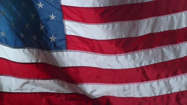 Slow motion shot of United States of America flag waving in wind Royalty-free stock video