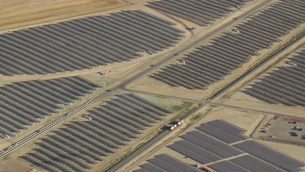 Aerial view of large solar farm outside of Las Vegas, Nevada Royalty-free stock video