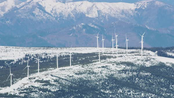 Aerial view of wind turbines in northern California mountains Royalty-free stock video