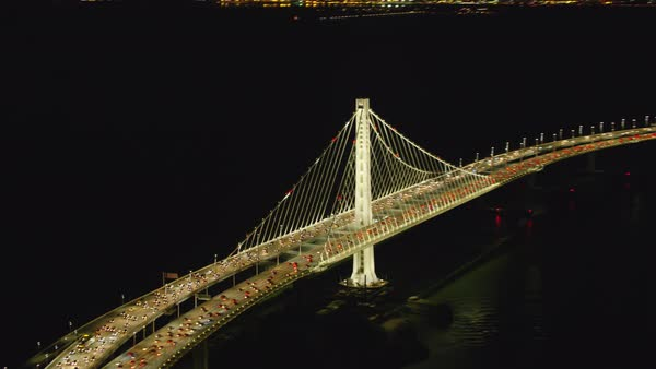 Aerial view of New San Francisco Oakland Bay Bridge Royalty-free stock video