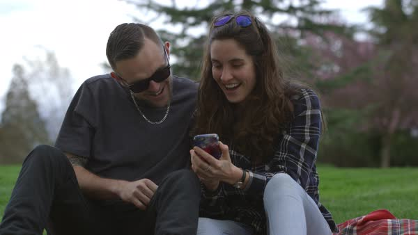 Two young people at park taking selfie together Royalty-free stock video