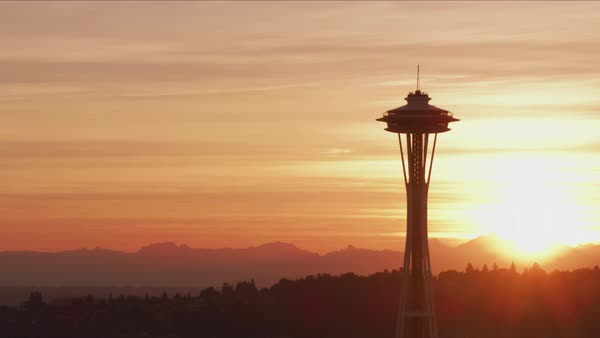 Aerial view of Seattle Space Needle at sunrise.   Royalty-free stock video