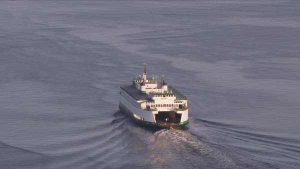 Aerial view of Ferry in Puget Sound.   Royalty-free stock video