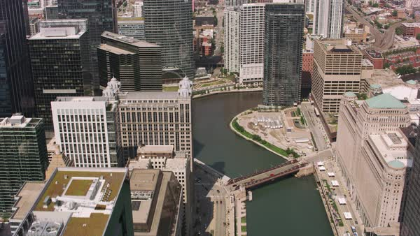 Daytime aerial shot of downtown Chicago and Chicago River.   Royalty-free stock video