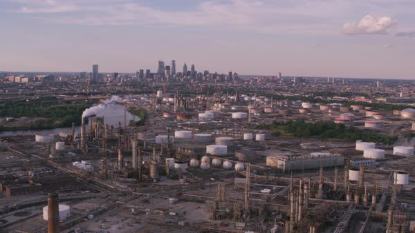 Port of Paulsboro oil refinery with Philadelphia in distance.   Royalty-free stock video