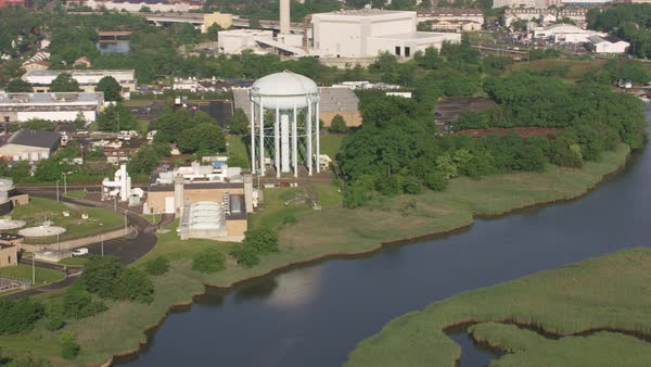 Aerial shot of water tower in Rahway, NJ.   Royalty-free stock video