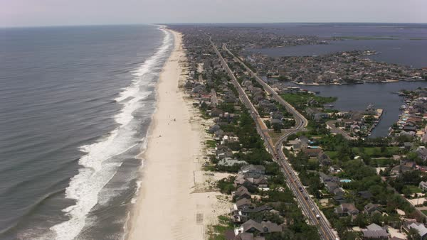 Aerial shot the Jersey Shore.   Royalty-free stock video