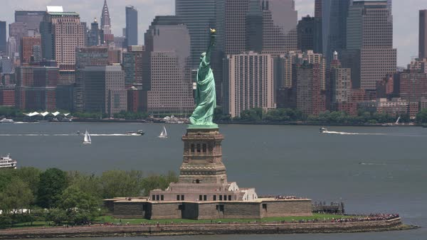 Daytime aerial view of Statue of Liberty in New York City.   Royalty-free stock video