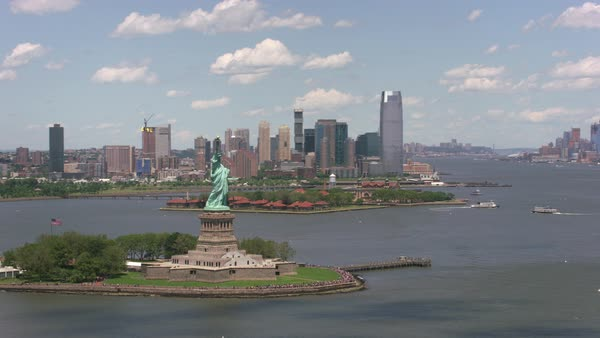 Aerial view of Statue of Liberty and Ellis Island.   Royalty-free stock video