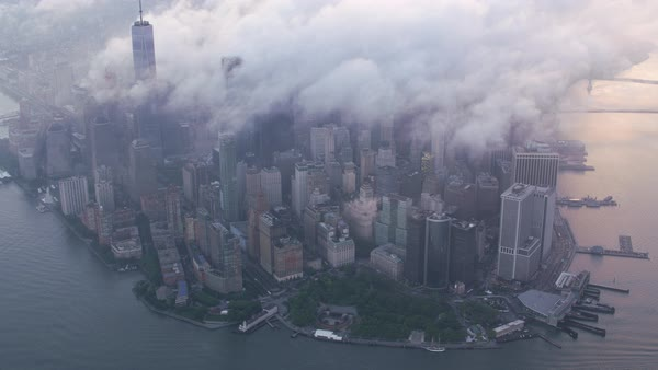 High angle aerial view of lower Manhattan with low clouds.   Royalty-free stock video