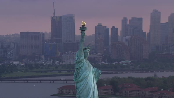 Statue of Liberty on beautiful cloudy morning.    Royalty-free stock video