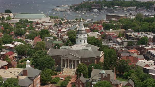 Aerial view of Maryland State House and city of Annapolis, Maryland.   Royalty-free stock video
