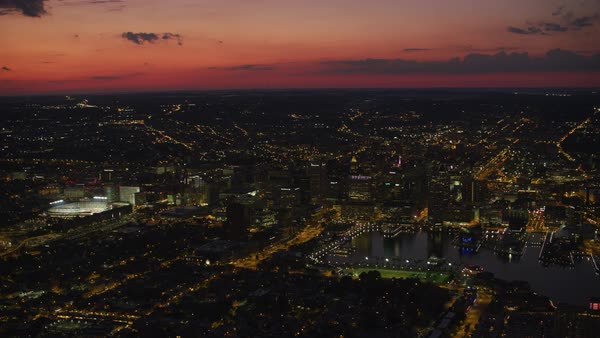 Aerial view of Baltimore at sunset.   Royalty-free stock video