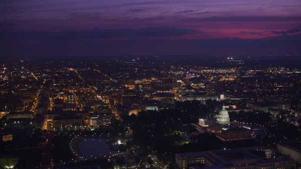 Wide aerial view of city and Capitol at dawn.   Royalty-free stock video