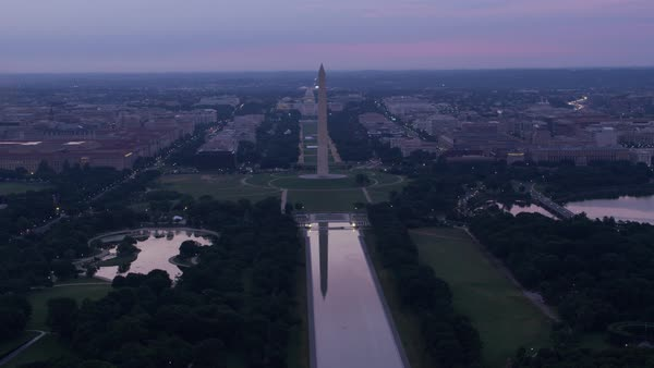 Aerial view of Washington Monument with reflection on Reflecting Pool.    Royalty-free stock video