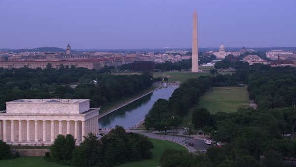 Aerial view of the Lincoln Memorial, Washington Monument and Capitol Building.   Royalty-free stock video