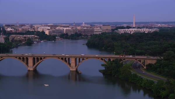 Flying down the Potomac River with D.C. in the distance.   Royalty-free stock video