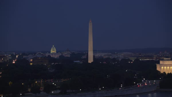 Aerial view of the Lincoln Memorial, Washington Monument and Capitol Building at dusk.   Royalty-free stock video