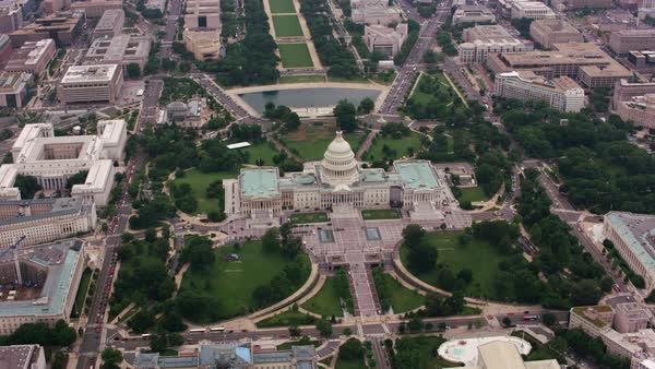 High angle aerial view of US Capitol building.   Royalty-free stock video