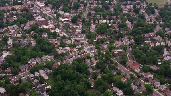 Aerial view of homes and streets in DC suburb.   Royalty-free stock video