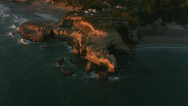 Aerial shot of Devil's Punchbowl on the Oregon Coast.   Royalty-free stock video