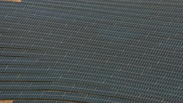 Aerial shot of solar panels.   Royalty-free stock video