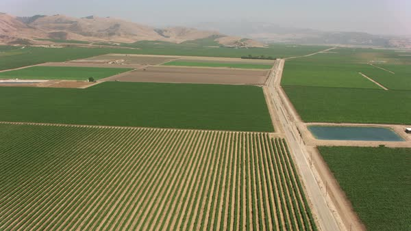 Aerial shot of Guadalupe area farmlands.   Royalty-free stock video