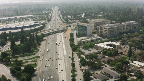 Aerial shot of highway 101 in Silicon Valley.   Royalty-free stock video