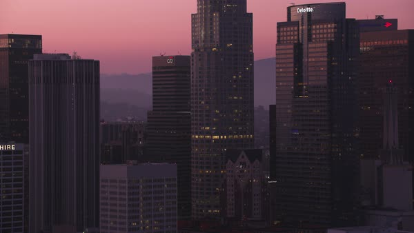 Closeup aerial shot of Los Angeles at dusk.   Royalty-free stock video