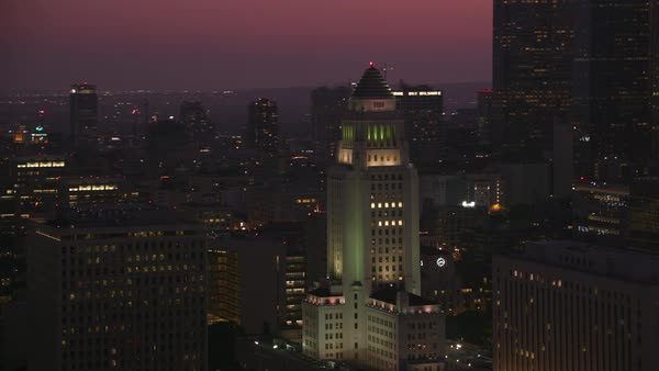 Aerial shot of Los Angeles at dusk with city in background.   Royalty-free stock video