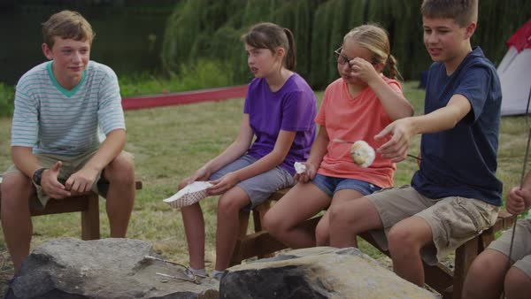 Kids at summer camp roasting marshmallows around campfire Royalty-free stock video