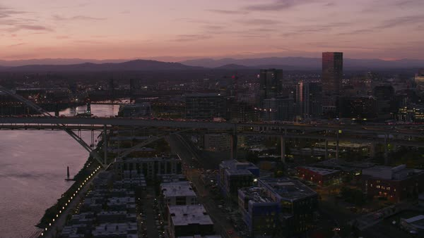 Aerial shot of Freemont bridge in early morning.   Royalty-free stock video