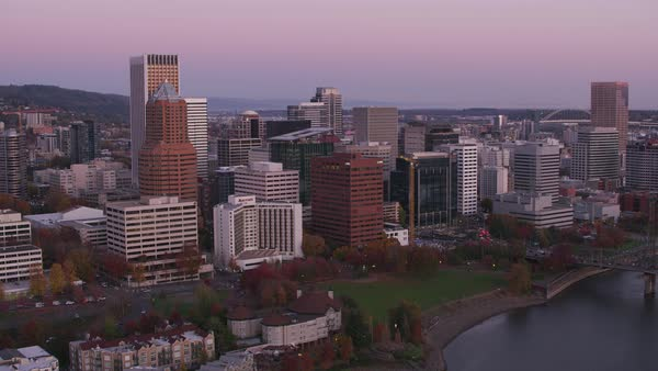Aerial shot of city buildings in Portland, OR.   Royalty-free stock video